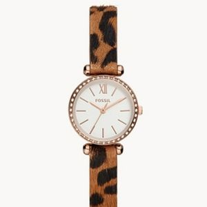 Cheetah and Rose Gold Fossil Watch